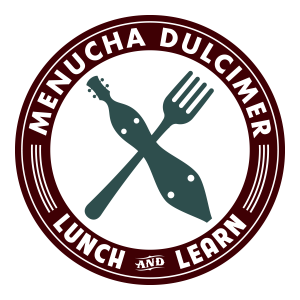 Logo of dulcimer and fork crossed on a plate